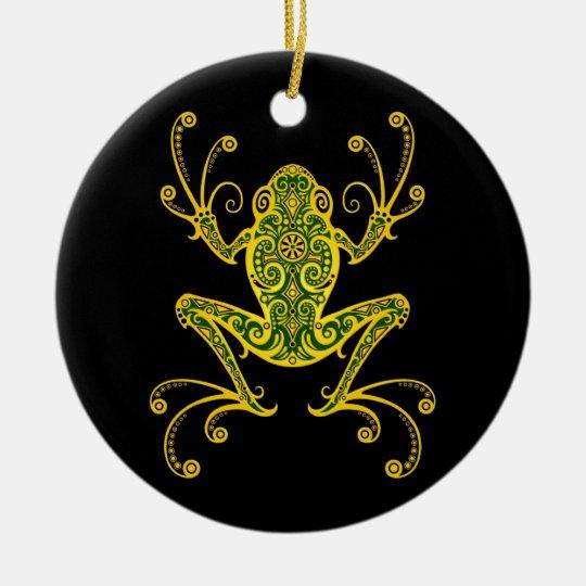 Rana arbórea verde y negra compleja adorno navideño redondo de cerámica