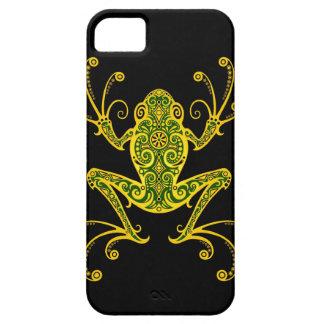 Rana arbórea verde y negra compleja iPhone 5 cárcasa