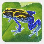 Rana azul de la selva tropical calcomanías cuadradass