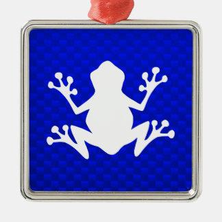 Rana azul ornamentos de navidad