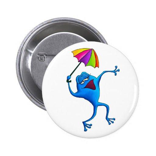 Rana azul del canto con el paraguas pin redondo de 2 pulgadas