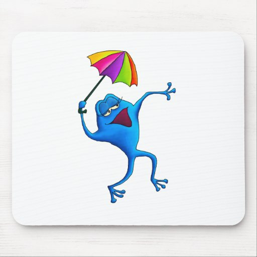 Rana azul del canto con el paraguas tapete de raton