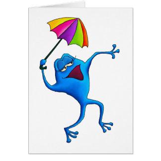 Rana azul del canto con el paraguas felicitacion