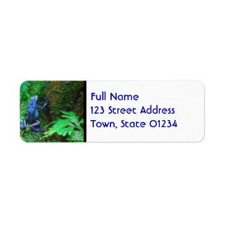 Rana azul del dardo del veneno etiquetas de remite