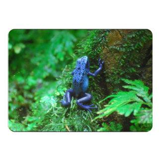 Rana azul del dardo del veneno invitación 12,7 x 17,8 cm