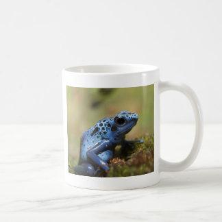 Rana azul del dardo del veneno taza básica blanca