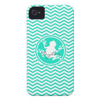 Rana blanca Aguamarina Chevron verde Case-Mate iPhone 4 Fundas
