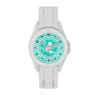 Rana blanca Aguamarina Chevron verde Relojes