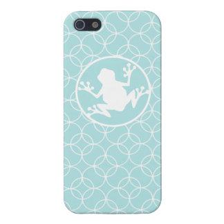Rana blanca en círculos de los azules cielos iPhone 5 carcasa