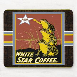 Rana blanca Mousepad del café de la estrella Tapetes De Raton