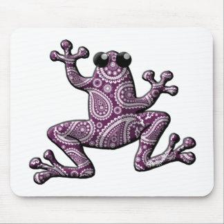Rana blanca púrpura de Paisley Alfombrillas De Ratón