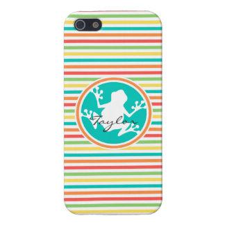 Rana blanca Rayas brillantes del arco iris iPhone 5 Protectores