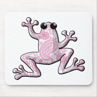 Rana blanca rosada de Paisley Alfombrillas De Raton