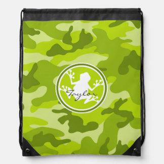 Rana;  camo verde, camuflaje mochilas