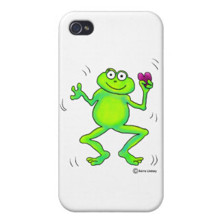 Rana caprichosa feliz que salta el corazón rosado  iPhone 4 fundas