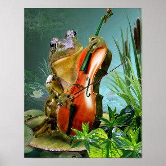 Rana chistosa de la escena que toca el violoncelo póster