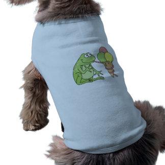 Rana con helado playera sin mangas para perro