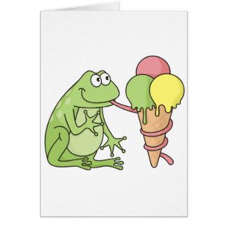 Rana con helado tarjeta de felicitación