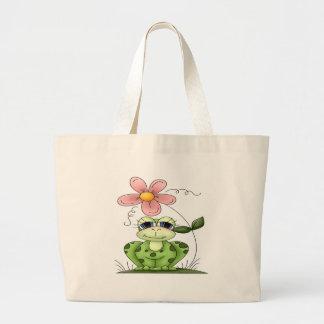 Rana con la flor bolsa tela grande
