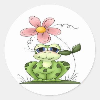 Rana con la flor pegatina redonda