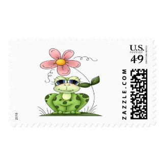 Rana con la flor franqueo