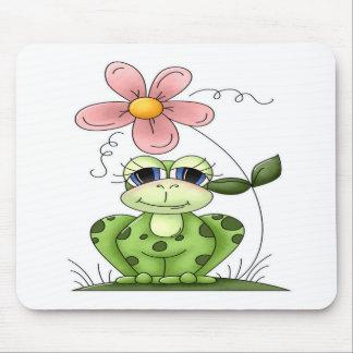 Rana con la flor alfombrillas de ratón