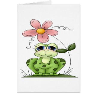 Rana con la flor tarjeta de felicitación