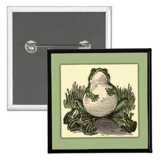 Rana con las ranas del bebé pin cuadrada 5 cm