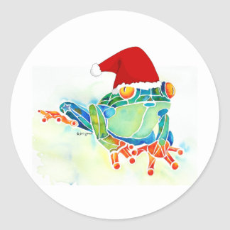 Rana de árbol de navidad pegatinas redondas