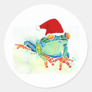 Rana de árbol de navidad pegatina redonda