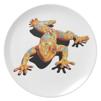 Rana de cerámica platos para fiestas