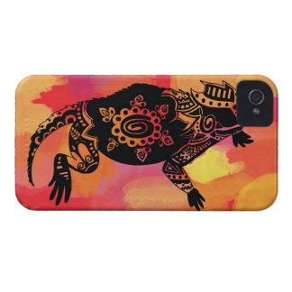 Rana de cuernos roja y anaranjada iPhone 4 protectores