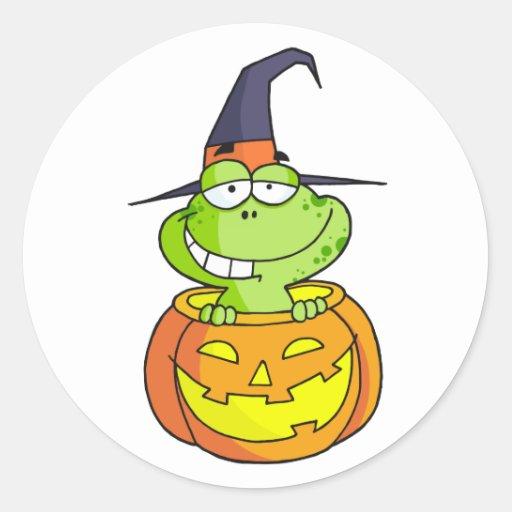 Rana de Halloween del dibujo animado Pegatinas Redondas