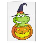 Rana de Halloween del dibujo animado Felicitaciones