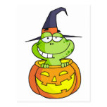 Rana de Halloween del dibujo animado Tarjeta Postal