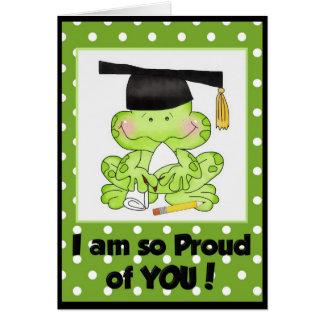 Rana de la graduación soy orgulloso de usted tarjeta de felicitación