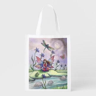 Rana de la libélula y bolso de compras del arte de bolsas para la compra