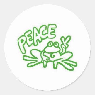 Rana de la paz etiquetas redondas