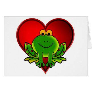 Rana de la tarjeta del día de San Valentín