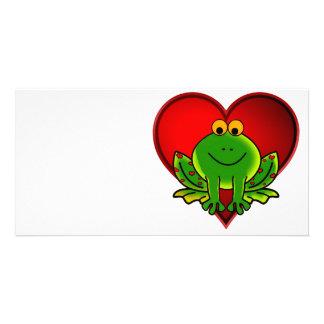 Rana de la tarjeta del día de San Valentín Tarjetas Fotograficas