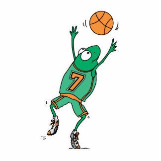 rana de salto del baloncesto fotoescultura vertical