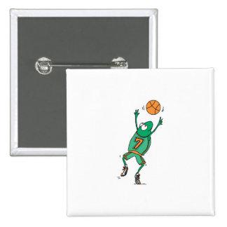 rana de salto del baloncesto pin cuadrado