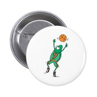 rana de salto del baloncesto pin redondo de 2 pulgadas