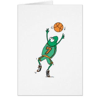 rana de salto del baloncesto tarjeta de felicitación