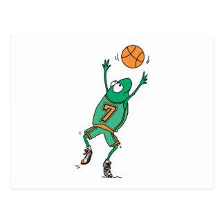 rana de salto del baloncesto tarjeta postal