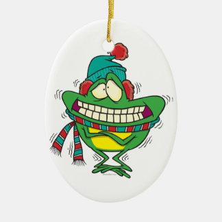 rana de temblor fría linda del froggy del invierno adorno navideño ovalado de cerámica
