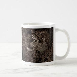 rana dejada en tono de la sepia del musgo tazas de café
