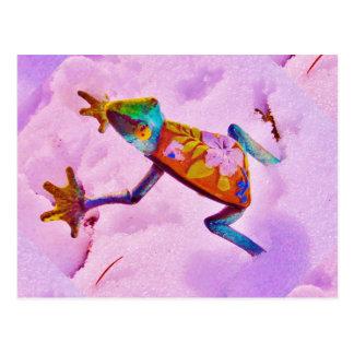 Rana del arco iris de la flor en nieve del color postales