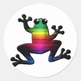 Rana del arco iris pegatina redonda