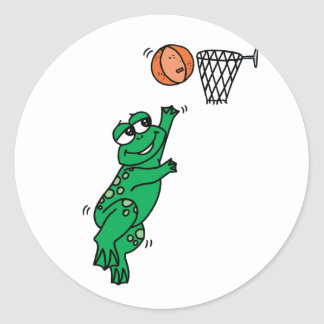 Rana del baloncesto pegatina redonda